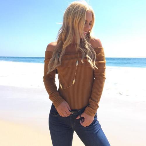 HTB1TMZrNpXXXXcpXFXXq6xXFXXXE - 2016 Women's Sweater Off The Shoulder Knitted Sweater Hollow Out Pullover Stripes Long Lantern Sleeve Knitwear Jumper Top White