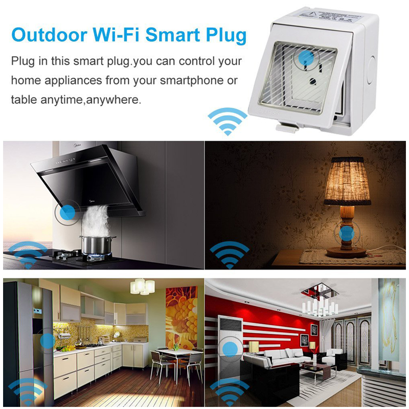 Outdoor Outlet,EU/US/UK Wireless Smart WIFI Plug Socket Switch IP55  Waterproof Remote Control Timer Compatible With Alexa In Smart Power Socket  Plug From ...