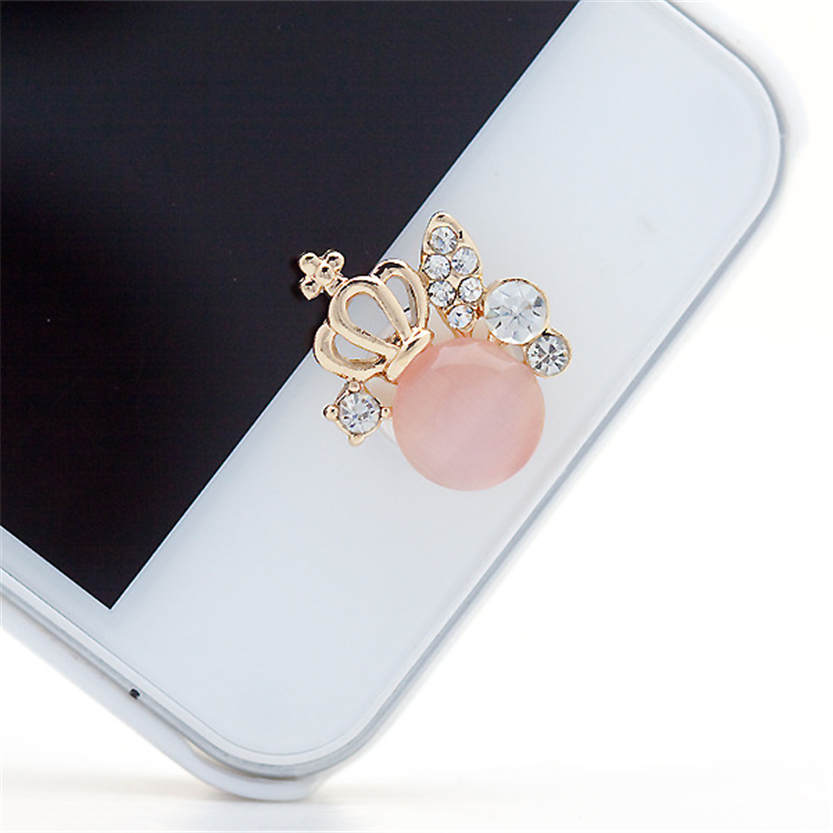 Elegant Nice Crown Design 3D Crystal Bling Diamond Home Button Sticker For IPhone  July 28 In Mobile Phone Stickers From Cellphones U0026 Telecommunications On ...