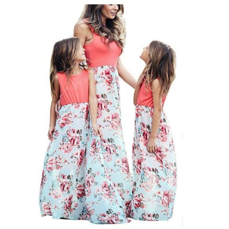 Mère fille robes tenues sans manches longue robe maman et fille robe filles mère et moi robe correspondant vêtements de famille 3