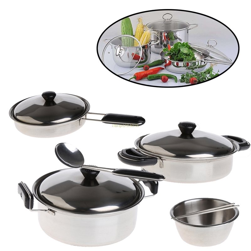 Pretend Play New Fashion 2018 Stainless Steel Pots Pans Cookware Miniature Toy Pretend Play Gift For Kid 20pcs/set Jul27_20