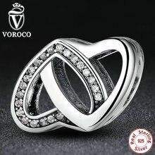 Romántica 925 Encantos de Plata Entrelazados Amor, Clear CZ Encantos fit Pandora Original Pulsera Mujeres Accesorios S277
