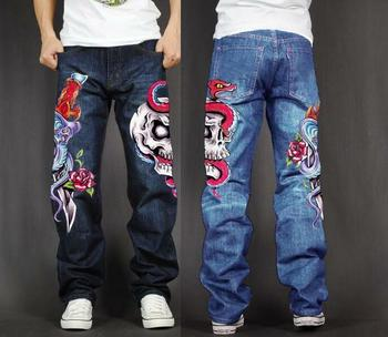 Men's Long Pants Baggy Loose Fit Jeans Rap Hip Hop Skate Denim Print Trousers Straight Stretch Casual Trousers Sword Skull Rose