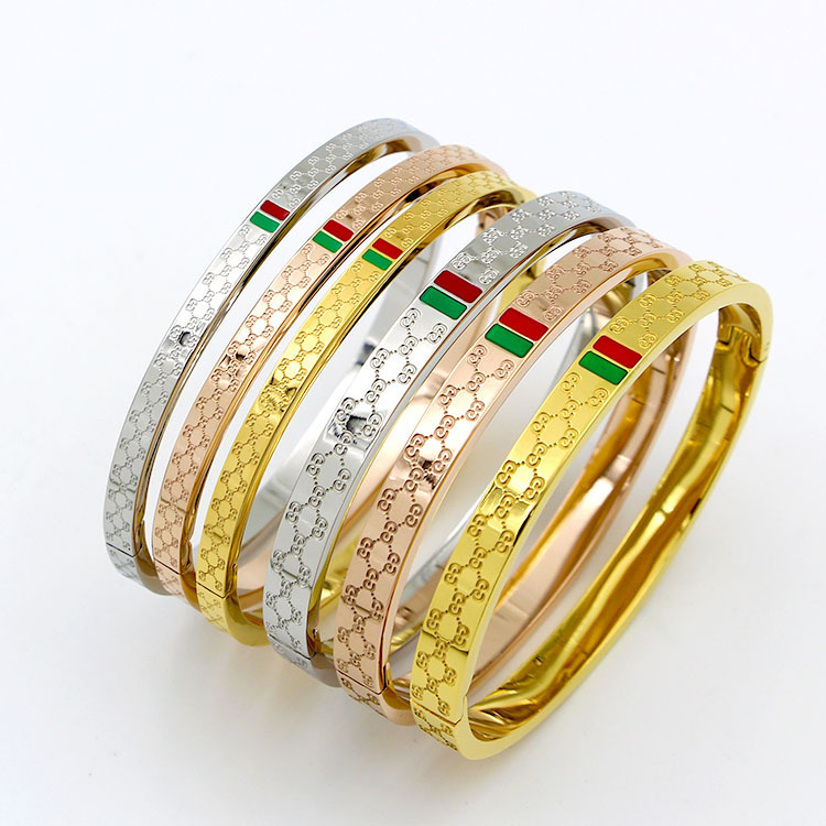 Hot Sale Fashion Grain Rose Gold Color Gold Color Stainless Steel Bangle