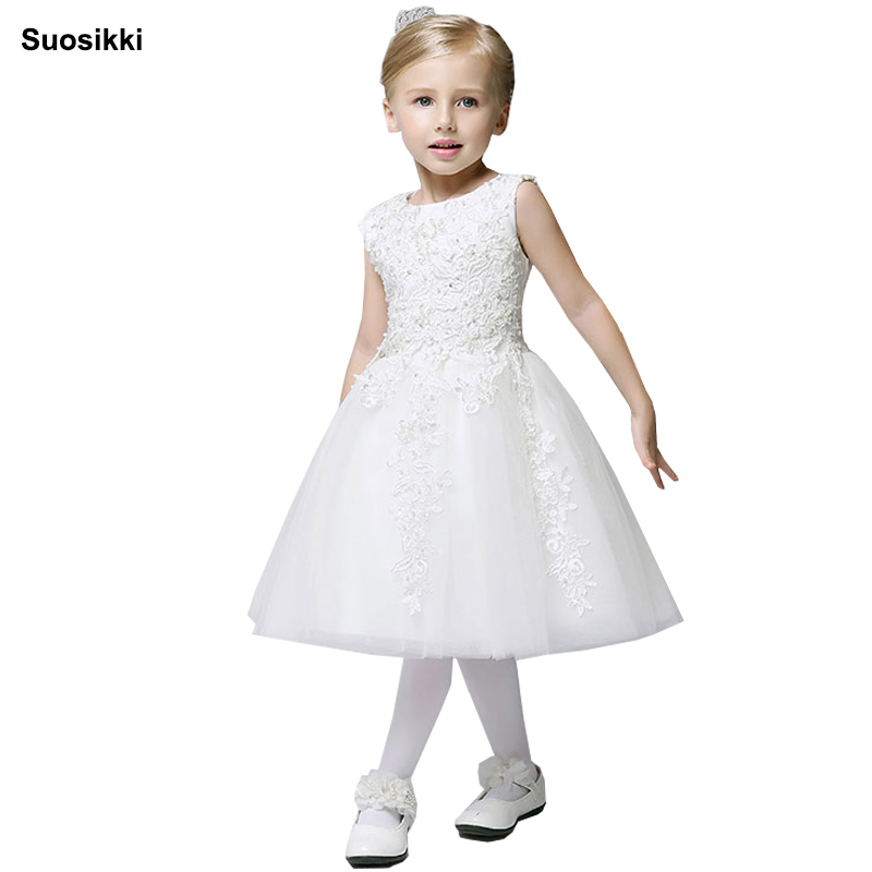 Suosikki Cheap   Flower     Girl     Dresses   Baby Pageant Birthday Party   Dress   Zipper Tulle First Communion Gown Pink   Flower     Girls     Dress