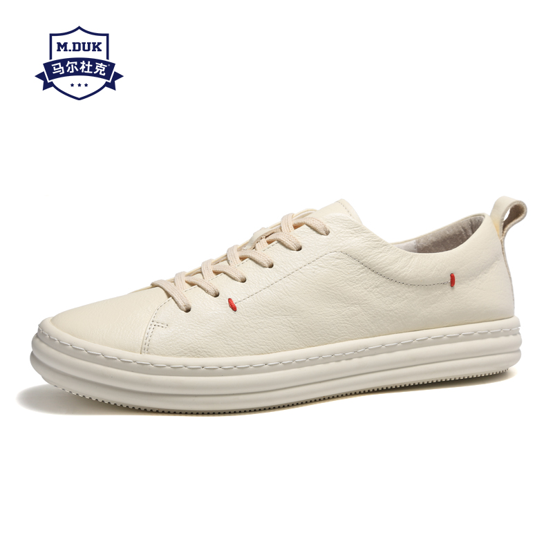 British retro men shoes all match cowhide comfortable white designer sneakers Genuine Leather casual shoes mens