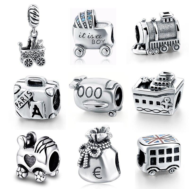 Fit Authentique pandora Bracelets Argent 925 D'origine Belle valise voiture train Charmes Perles Pendentif Bijoux faisant des Cadeaux