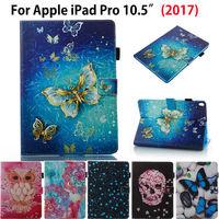 Coruja dos desenhos animados Crânio borboleta flor da Tampa Do Caso Para O iPad Da Apple Pro 10.5