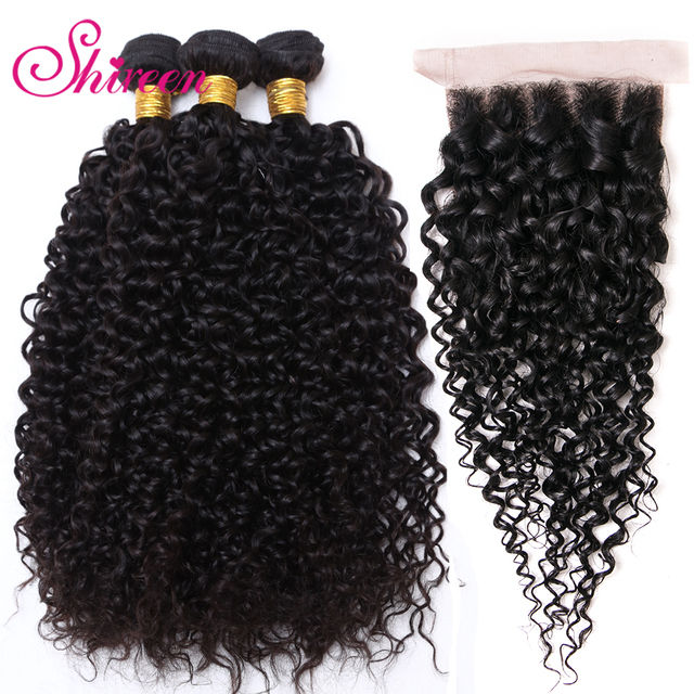 Shireen Brazilian Kinky Curly Bundles with Closure Grade 8A Hair Cheap Bundles of Hair with Closure 4 Piece Bundles with Closure