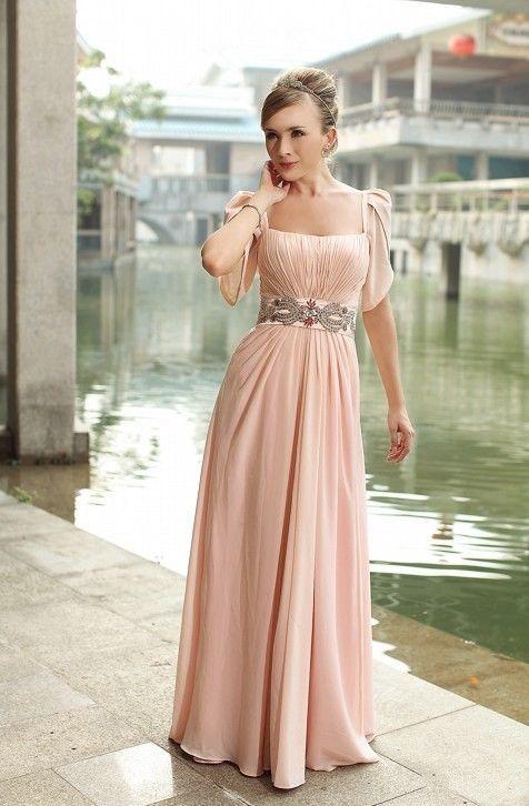 Robe perlée mère de la mariée robe de soirée formelle à manches courtes grande taille