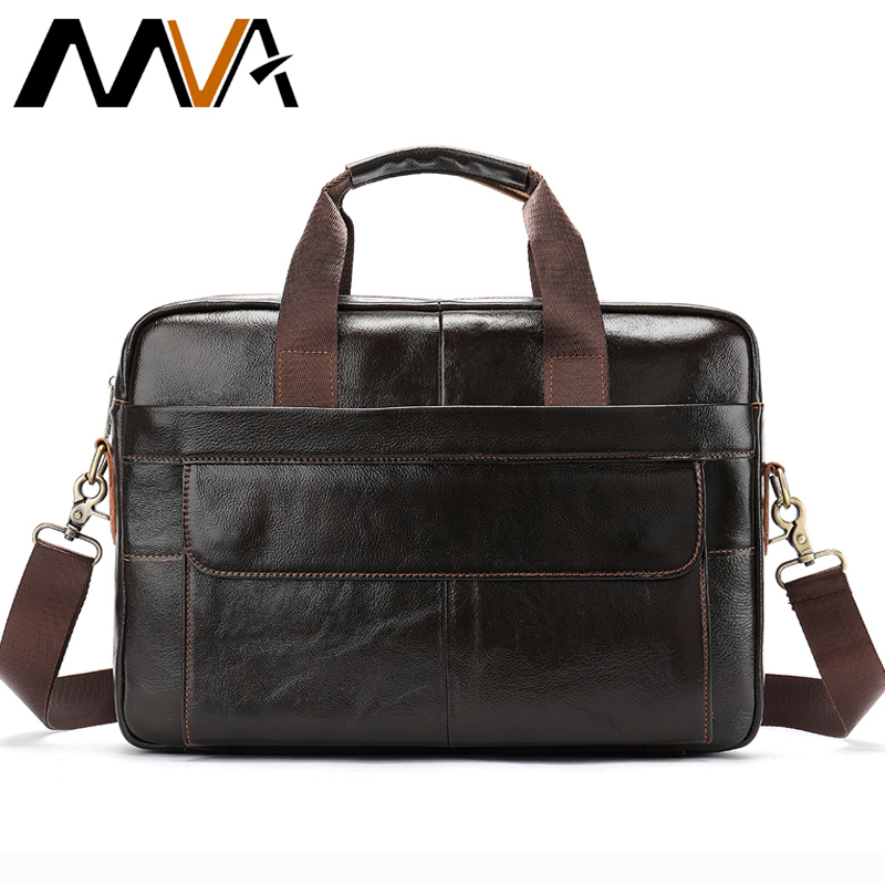 MVA Leather Briefcase Men casual computer bag 14inch men briefcase laptop genuine leather messenger bag men shoulder handbags