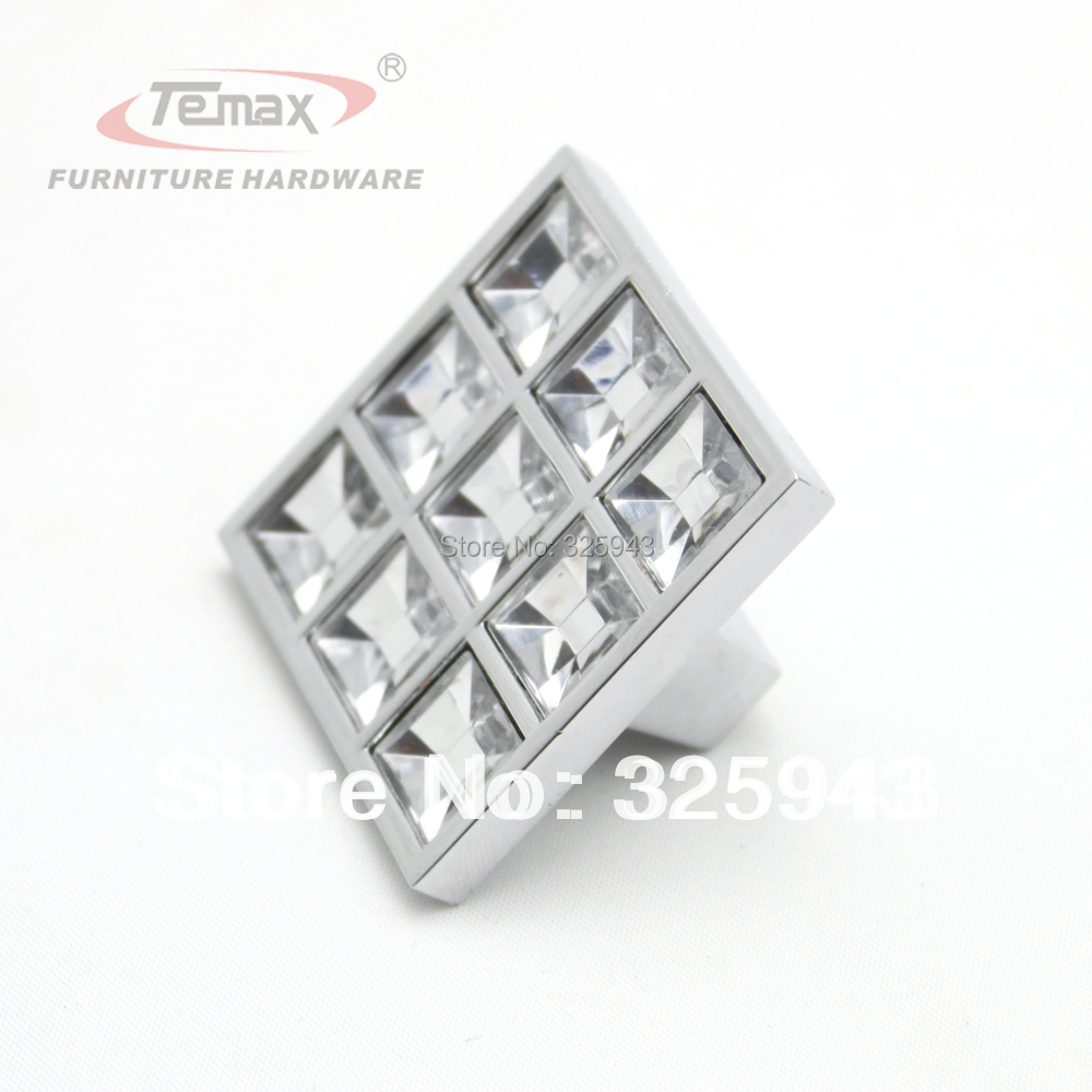 10Pcs 40MM Clear Crystal Zinc Alloy Square Type Morden Kitchen ...