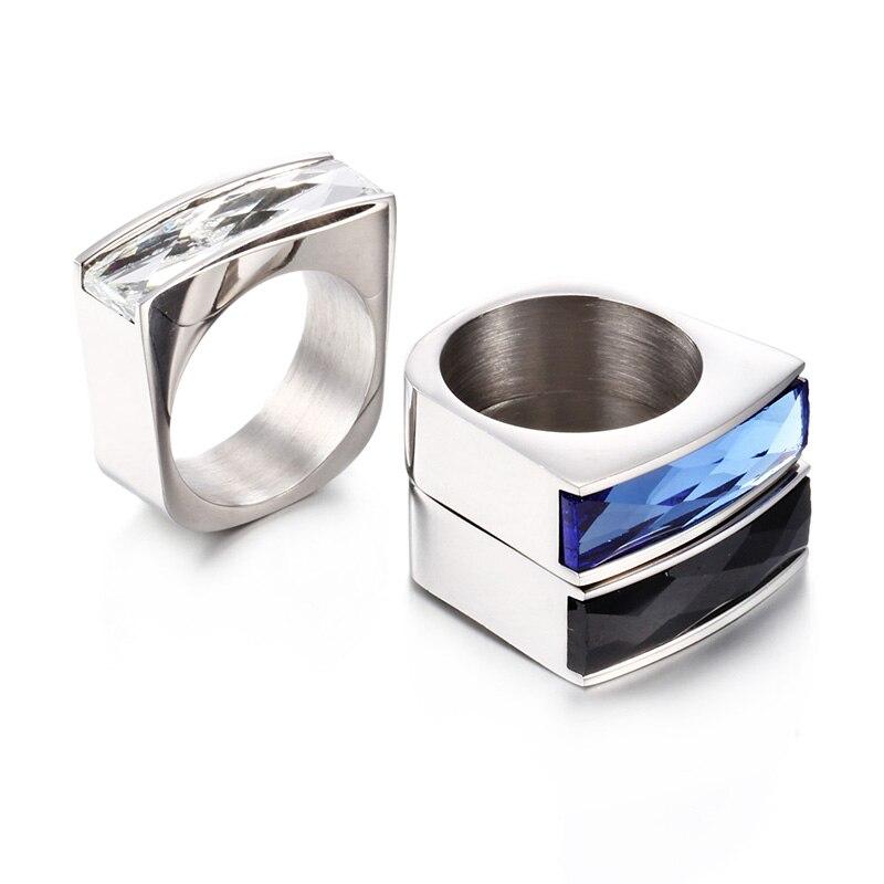 Nyankomst Crystal Ring Färgglada Rödblå Svart Lila stenring Rostfritt stål Party Vigselring för kvinnor