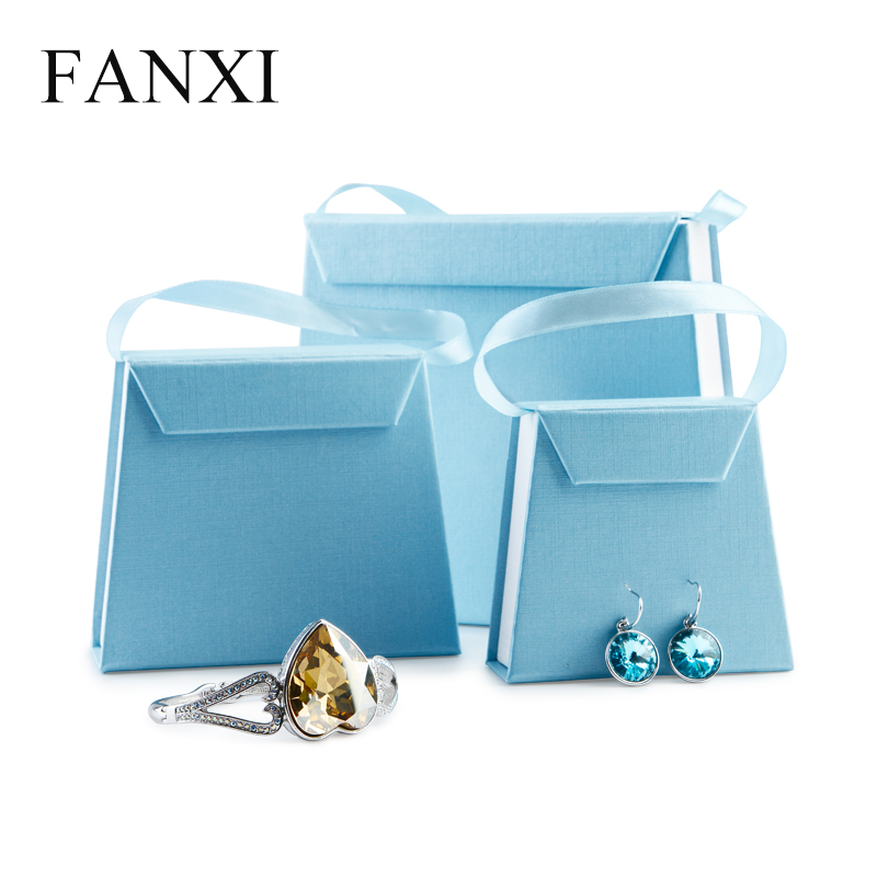 FANXI Blue Paper Jewelry Gift Box Pendant Bangle Chain Necklace Packaging Wedding Party Jewelry Organizer