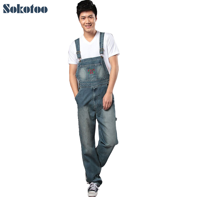 Sokotoo Men's denim bib pants male loose plus size casual jeans straight one piece long trousers suspenders overalls jumpsuit free shipping 2016 plus size denim bib pants halter neck jumpsuit and rompers for women suspenders jeans ol straight trousers xl