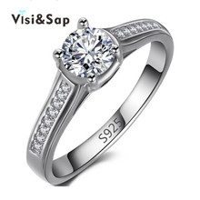Eleple Rings For women Wedding anel anillos de compromiso white gold color rings cubic zirconia Bijoux fashion jewelry VSR004 china factory unique styles prong settings cubic zirconia gold color cheap pure titanium fashion jewelry rings for wedding