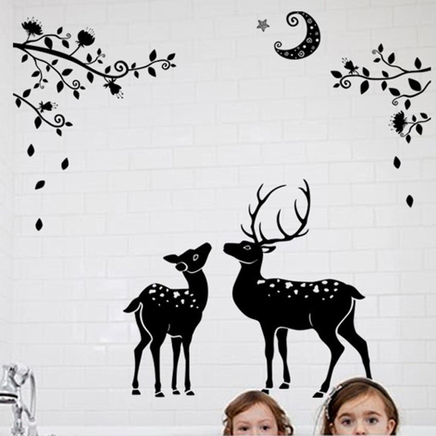 Home Decor Moonless Deer Silhouettes Christmas Decoration Decal Window Stickers Home Decor wall sticker Home Deco mirror JU30