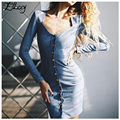 New 2017 Single-breasted Long Sleeve Knee Length Midi Dress Slim Bodycon Bandage Faux Suede Leather Women Dresses Vestidos