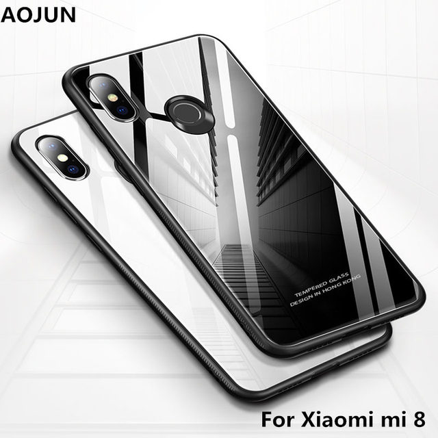 quality design 234bc c99cf US $4.99 |Xiaomi mi 8 Tempered Glass Case Hard Back Cover Shockproof  Protective Tempered Glass Phone Cover for xiaomi mi8 Shell-in Phone Pouch  from ...