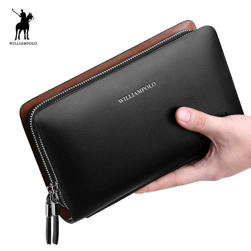WILLIAMPOLO Fashion Business Design Högkvalitativ Organizer Wallet Men Clutch Plånbok Äkta Läder Plånbok PL179