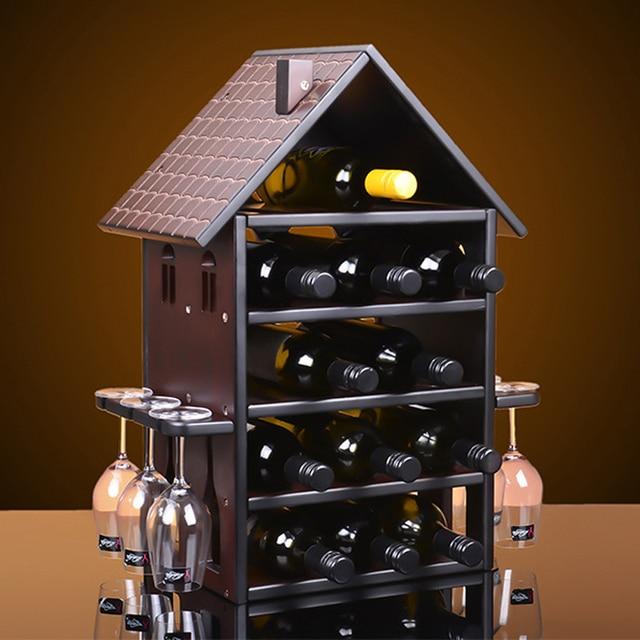 Creativo 60 cm h casa vino tinto estante del vino de - Madera para estantes ...