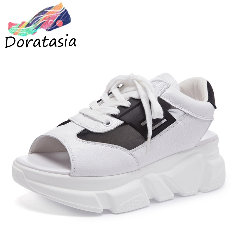 DORATASIA New Girl Sweet mixed color Summer Mesh Sandals Women Split Leather Summer Sneakers Dad Shoes