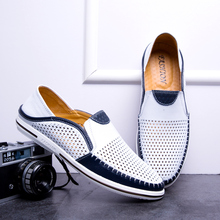 Summer Breathable Men's Leather Loafers Non-slip Casual Men's Shoes Wear-resistant Soft Business Shoes 6#22E50