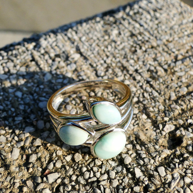 DJ CH Genuine Larimar Branch Leaf Ring Rhodium on 925 Sterling Silver Stefilia's Stone Genstone Rings Wedding Engagement Bands