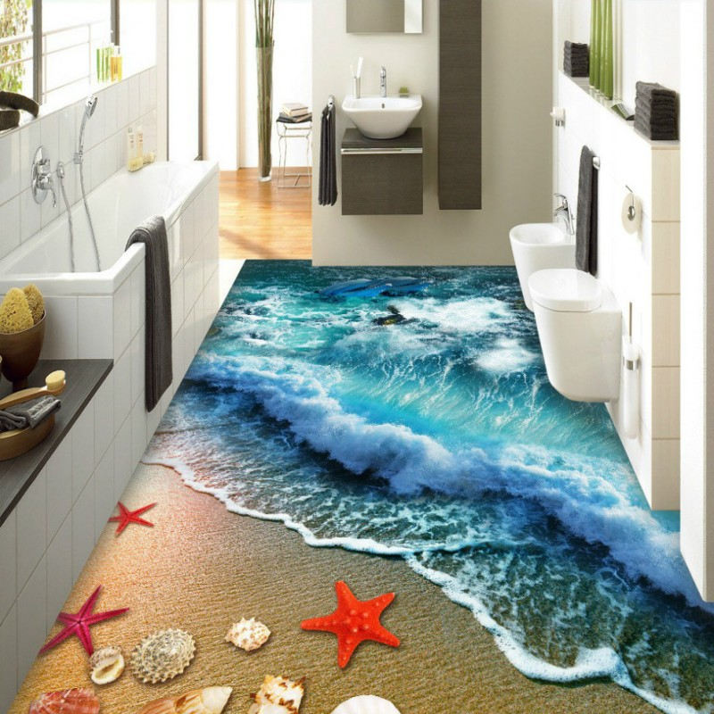 Free Shipping custom Beach Surf Wave Surf 3D Floor Tile Floor Painting wallpaper waterfloor wear non-slip floor mural цена и фото