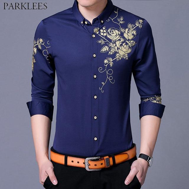 b276adb54da850 Fashion Gold Rose Print Button Down Shirt Men 2018 Slim Fit Long Sleeve  Dress Shirts Men