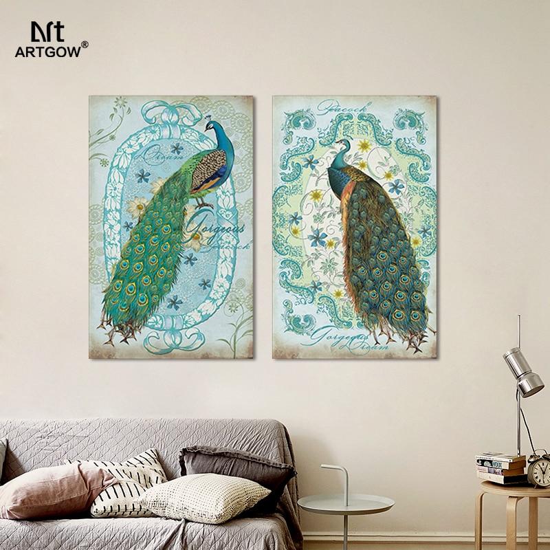 2 stücke Moderne Tier Pfau leinwand malerei kinder wohnzimmer kinder ...