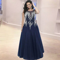 2018 Spring New Style Vintage Dress 5Xl Sexy Embroidery Diamonds Vestido High Quality Dark Blue Mesh