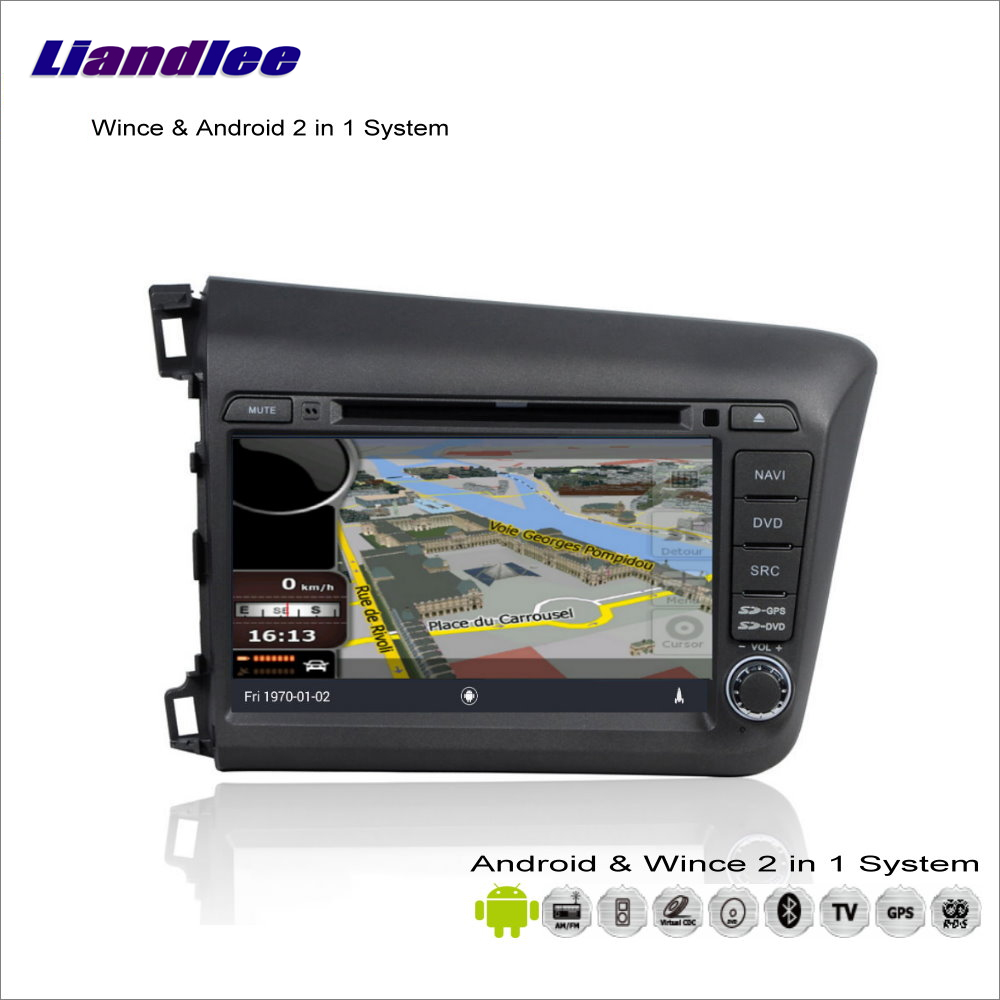 Liandlee For Honda Civic 2012~2013 Car Radio DVD Player GPS Nav Navi Map Navigation Advanced Wince & Android 2 in 1 S160 System