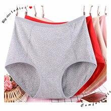 3 pçs/lote tamanho grande XL 6XL sexy de cintura alta das mulheres de algodão calcinha sólida respirável cuecas lingerie calcinha feminina intimate
