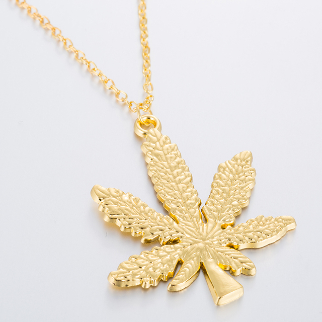 Hfarich Maple Leaf necklaces & pendants Gold Silver Color boho Cannabiss Weed Herb Charm Necklace Hip Hop Tropical Leaf Jewelry  3