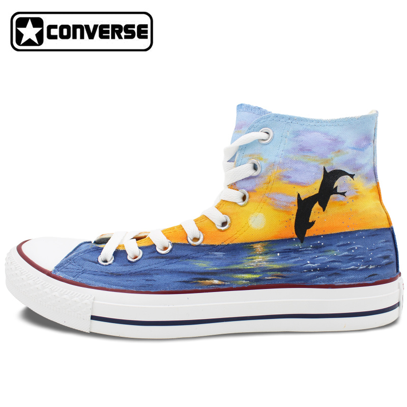 Dolphin Original Design Converse All Star Men Women Shoes Hand Painted Shoes High Top Sneakers Man Woman Christmas Gifts  classic original converse all star minim musical note design hand painted shoes man woman sneakers men women christmas gifts