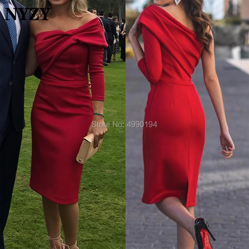 NYZY C138 One Sleeve Red   Cocktail     Dresses   Knee Length Mermaid Robe Soiree Dubai Short Formal   Dress   Party 2019