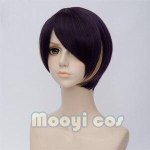 Image 3 - אנסמבל כוכבים Shinobu סנגוקו קצר פאת קוספליי ישר פאת אנימה לשני המינים חום שיער סינטטי עמיד פאה סגול צהוב מעורב