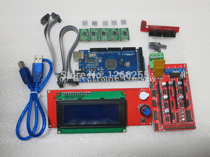 1pcs Mega 2560 R3 + 1pcs RAMPS 1.4 Controller + 5pcs A4988 Stepper Driver Module 2004 LCD control for 3D Printer arduino kit