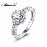 Women Engagement Ring Elegant Four Leaf Clover Wedding SONA Simulated Diamond Genuine 925 Sterling Silver Band
