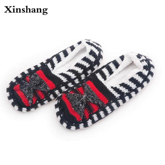 2017 New Warm Soft Sole Women Indoor Floor Slippers/Shoes High Quality Black Woolen Slippers Flannel Flat Home Slippers