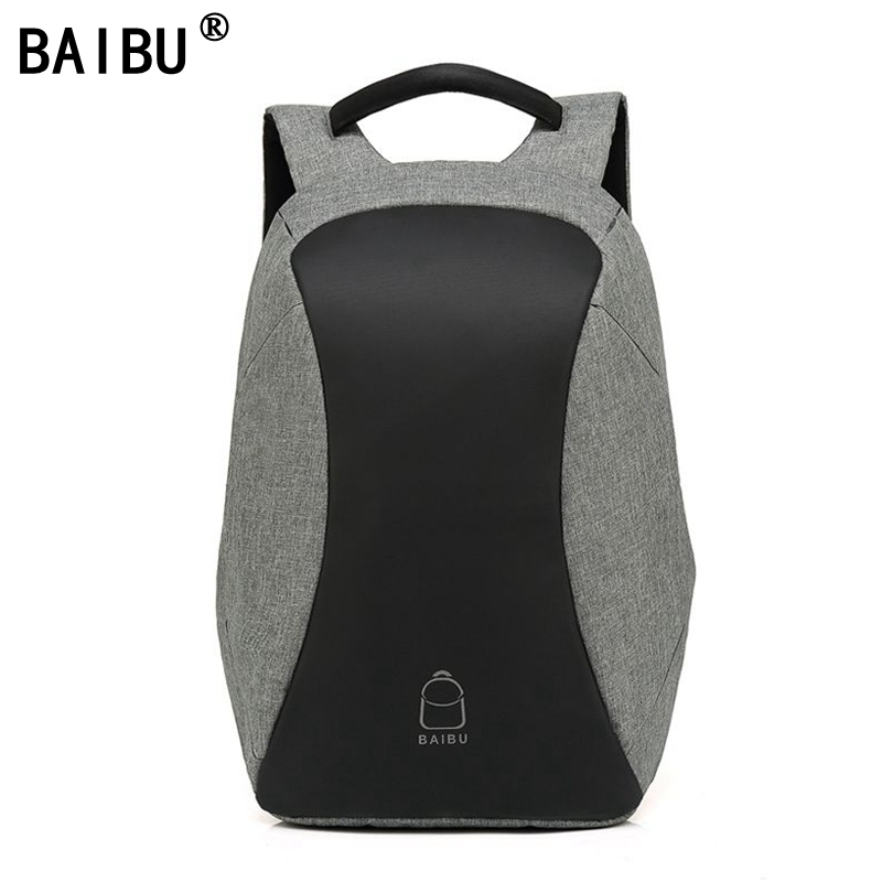 все цены на BAIBU Men Backpack Anti theft multifunctional Oxford Casual Laptop Backpack With USB Charge Waterproof Travel Computer Bagpack