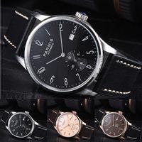 New Classic vintage 42mm Parnis Black Brown Dial Branco Rose Banhado A Ouro Data Marca De Luxo dos homens Automáticos de Movimento relógio
