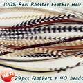 24pcs 6-12 Whiting Grizzly Rooster Feather Hair Feather Extensions Styling for Women Hair Accessories for Feather Hair Clip In