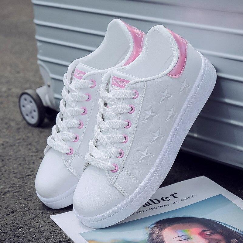 Pu blanco estilo británico zapatos para correr de mujer ulzzang entrenador de zapatos de confort a correr zapatillas de deporte mujer zapatos mujer