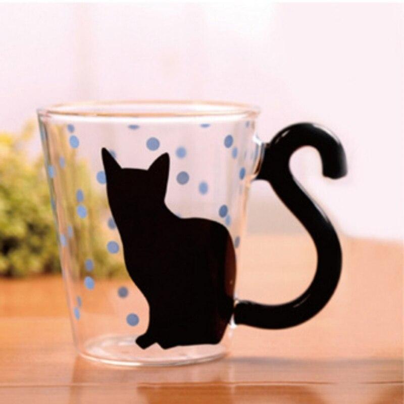 Cat Mug <font><b>Drinking</b></font> <font><b>Glass</b></font> <font><b>Cup</b></font> Hand Made <font><b>Cute</b></font> <font><b>Animal</b></font> Dot Designed Coffee <font><b>Milk</b></font> <font><b>Cups</b></font> Designed <font><b>Pattern</b></font> Mugs 300ml PY