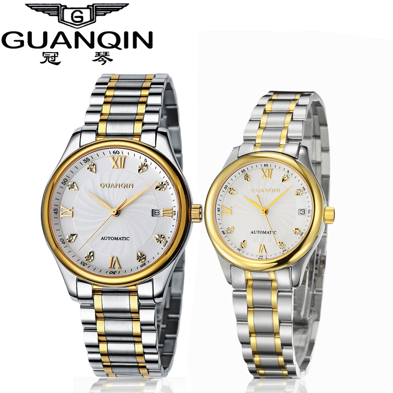 GUANQIN Luxury Lovers Watch Top Brand Women Men Watches Waterproof Sapphire Crystal 316L Stainless Steel Couple Watches 2 Pieces gj303 rhinestones 316l stainless steel couple s ring black silver size 9 7 2 pcs