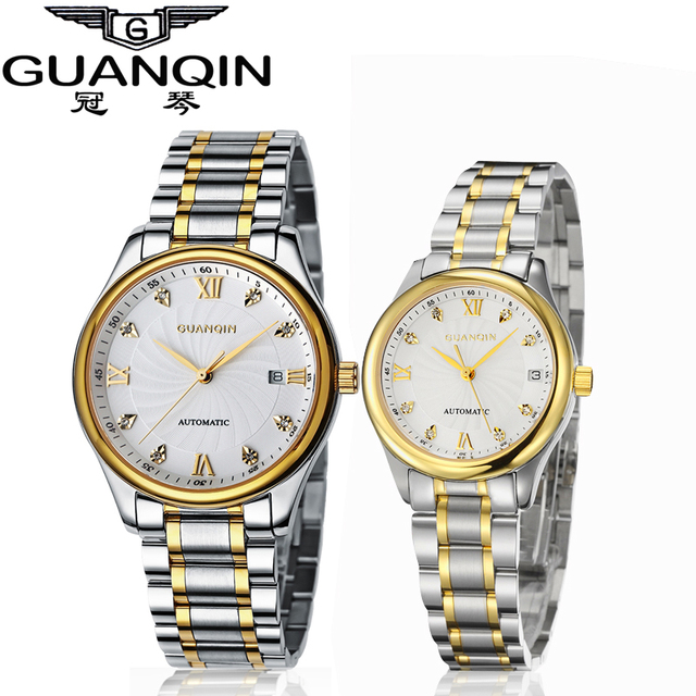 GUANQIN Luxury Lovers Watch Top Brand Women Men Watches Waterproof Sapphire Crystal 316L Stainless Steel Couple Watches 2 Pieces