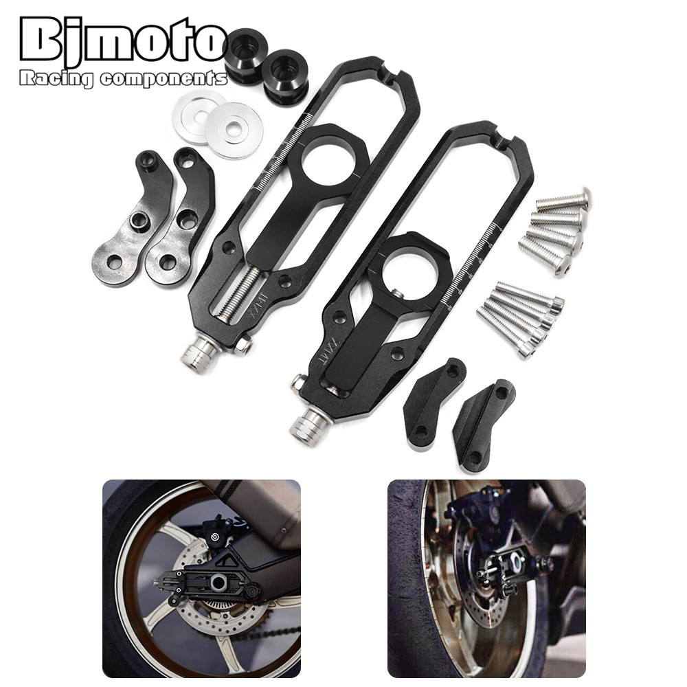 bjmoto CNC Aluminum Chain Adjusters with Spool Tensioners For BMW S1000RR 2009-2015 S1000R 2014-2015 HP4 2012-2014 chain adjusters tensioners with spool fit for honda cbr600rr cbr600 rr 2007 2008 2009 2010 2011 2012 motorcycle