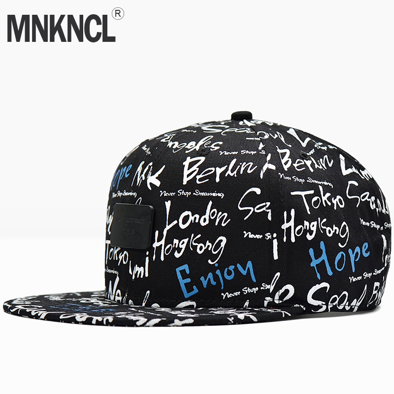 MNKNCL High Quality Snapback   Cap   Brand Flat Brim Printing   Baseball     Cap   Fashion Hip Hop   Cap   and Hat For Men and Woman